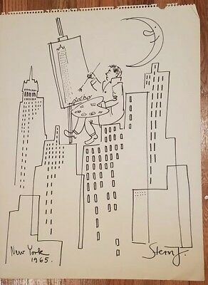 Original watercolor wah and ink by Jossi stern measures 18 by 24 new york city 1