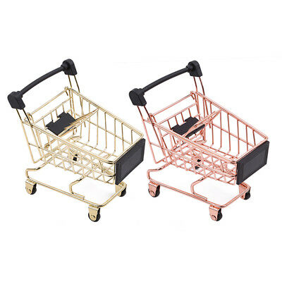 Emulational Iron Trolley Grocery Basket Shopping Cart Rolling With Wheels Toy