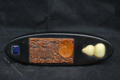 24.5cm Collect Chinese Rosewood inlay Shoushan Stone Jade Paperweight Inkstone