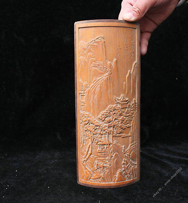 24cm Collect Chinese Bamboo Carved landscape Tree Bi Ping Wall hanging Sculpture