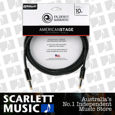 Planet Waves PW-AMSG-10 American Stage Guitar Cable, 10'- 3M straight Ends
