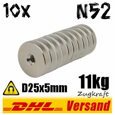 10x Neodymium Magnet d25x5mm 11kg with Countersink - Strong Power Hightech