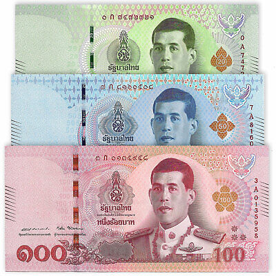 THAILAND SET 3 PCS 20 50 100 Baht, A Prefix, 2018, P-NEW, King Rama X, UNC