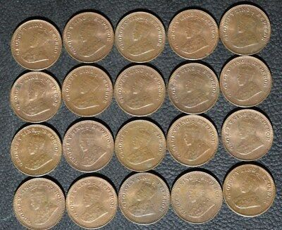 1921 British India 1/12 Anna, Bulk Lot of 20 Coins, Red/Brown UNC, #2