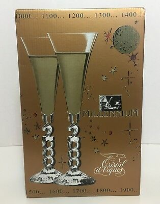 Cristal D'Arques Lead Crystal Champagne Flutes Set of 2 Millennium Glasses 2000
