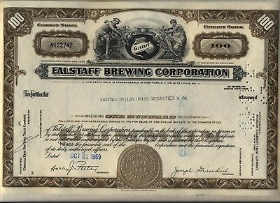 Falstaff Brewing Corporation Stock Certificate Beer