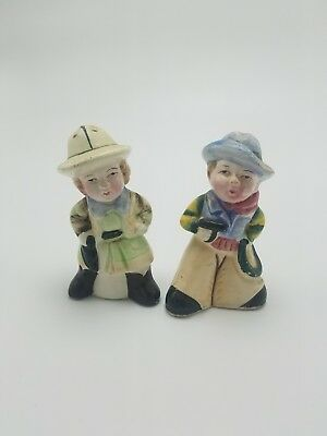 Antique Cowboy Salt and Pepper Shakers - JAPAN