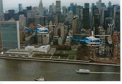 NEW YORK CITY POLICE DEPARTMENT AVIATION UNITs IN-FLIGHT 4X6 COLOR PHOTO ~ L@@K