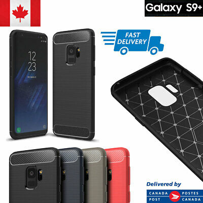 For Samsung Galaxy S9, Plus Case Carbon Fiber TPU Matte Armor Defender Cover