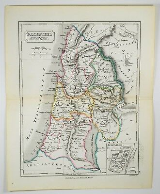 1855 Antique Palestine Israel Map - Hand Colored - Ancient Jerusalem Print Art