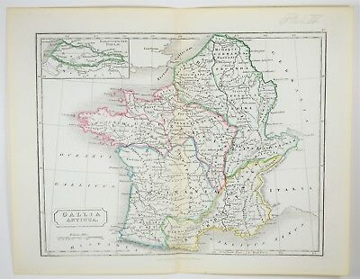 1855 Antique Gaul Map - Hand Colored - France Belgium - Ancient Europe - Art