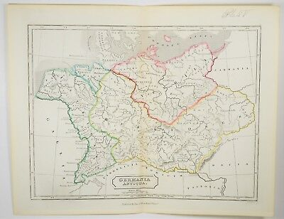 1855 Antique Germania Map - Germany - Hand Colored - Ancient Europe Print Art