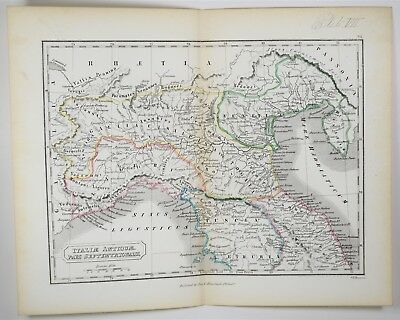 1855 Antique Northern Italy Map - Hand Colored - Ancient Tuscany Print Art