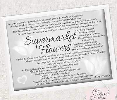 ED SHEERAN SUPERMARKET Flowers Divide A4 FRAMED print Song Lyrics ...
