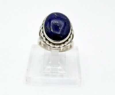 Vintage ring sterling silver Lapis lg domed deep blue chunky setting S7 / 12+g