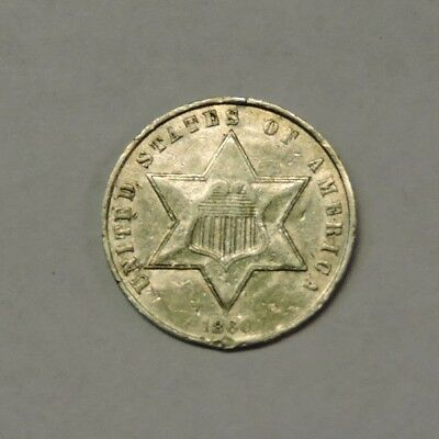 1860 Silver 3/Three Cent Piece, AU, Flashy, TOMAHAWK COIN (S3C-9/VEX)