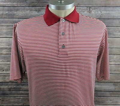 FJ Footjoy Prodry Lisle Golf Mens Polo Striped Red Size Large