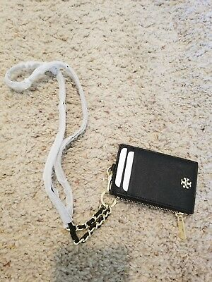 c3eb9297271a NWT Tory Burch Leather Robinson Lanyard ID Holder Credit Card Key Chain Coin