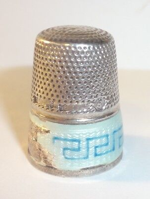 Vintage Sterling & Greek Key Enamel (damaged) Germany Thimble Sz. 8