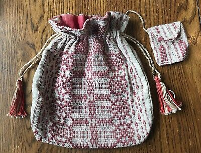 Early 19th century Loom Woven (Coverlet) Ladies Drawstring Purse