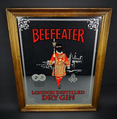 "Beefeater London Dry Gin Tray Mirror Wall Hanging Barware Advertising 16"" x 20"""