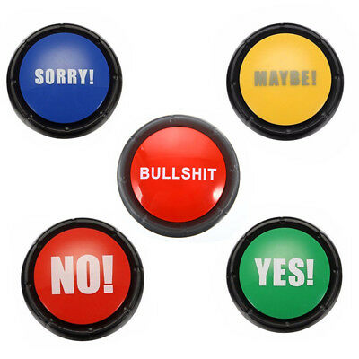 Talking Button Cheeky Adult Funny Gag Novelty Gift Bullshit Maybe No Sorry Yes