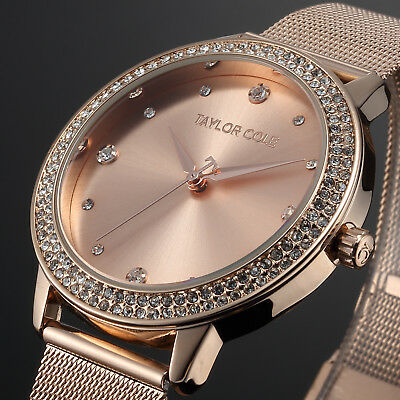 Taylor Cole Luxury Bling Crystal Stainless Steel Lady Women Quartz Wrist Watch