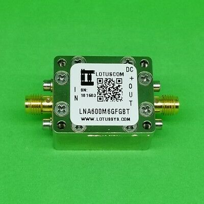 Broadband Low Noise Amp 0.95dB NF 0.6GHz to 6GHz 21dB Flat Gain with Bias Tee