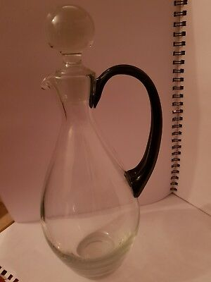 LARGE carafe BLUE & CLEAR GLASS JUG DECANTER WITH HANDLE & STOPPER