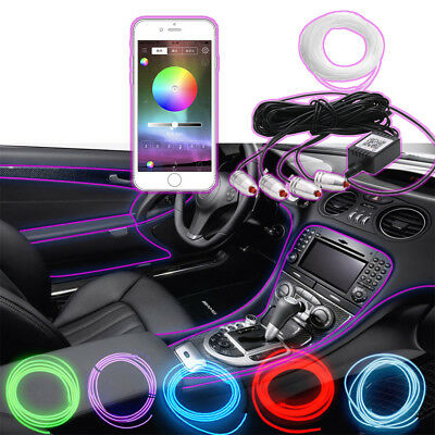 RGB Lamp LED Car Interior Neon Strip Light Sound Active Bluetooth Phone Control