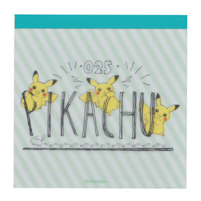 Pokemon Center Original Pikachu drawing green Memo pad Notepad From Japan