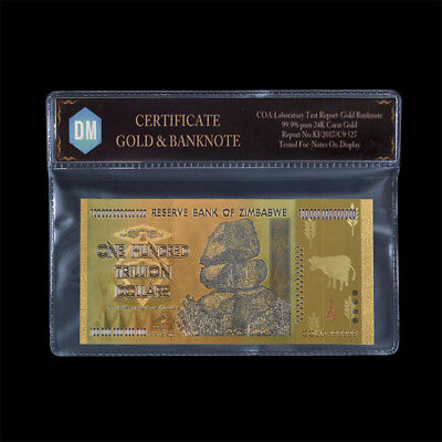 Zimbabwe100 Trillion Dollars Banknote24k Gold Banknote Paper Money with COA
