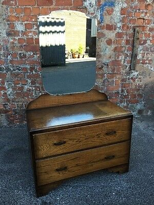 Small Mid-Century Vintage Oak Dressing Table With Two Drawers - Dressing Chest