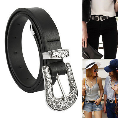 Women Waist Belt Black Leather Western Cowgirl Waistband Double Metal Buckle