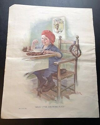 Vintage 1923 Cream Of Wheat Print Ad, Right Over Home Plate By Edw. V. Brewer