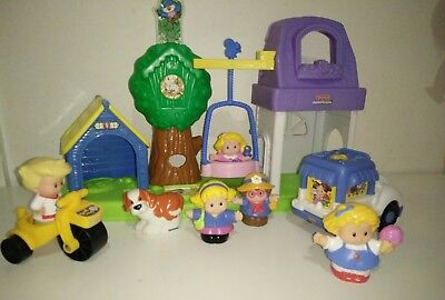 Fisher Price Little People Kids Girls in the Park Ice Cream Truck Playground