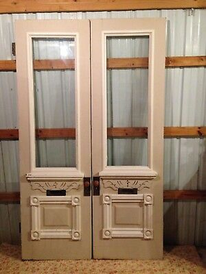 ~ Tall Antique Double Entrance French Doors ~ 54 X 90~ Architectural Salvage