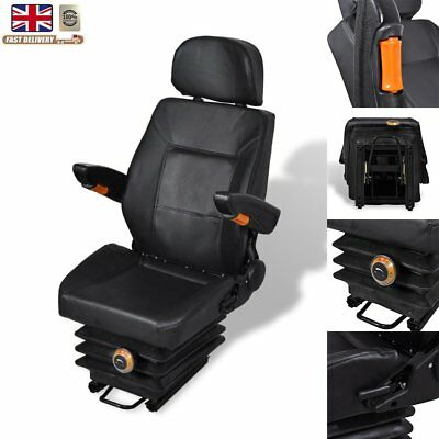 Tractor Seat Fold Armrest Headrest Foam Padded Chair w/ Spring Track &Suspension