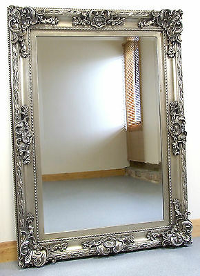 """Paris french style vintage Silver wall overmantle mirror 45"""" x 33"""" (114 x 84cm)"""