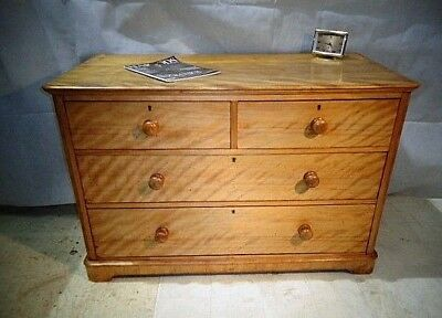 ANTIQUE VICTORIAN SATIN BIRCH CHEST OF DRAWERS c1860-80 CHEST OF DRAWS