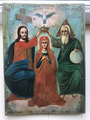 "Antique 19c Russian Hand Painted Wood Icon ""coronation of the Virgin"""