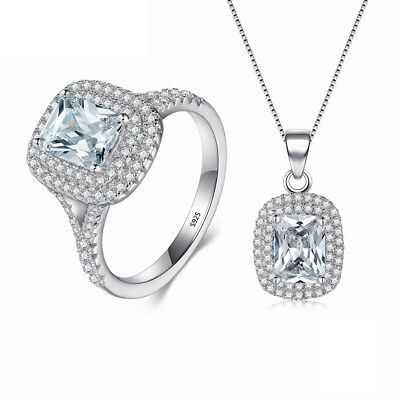 925 Sterling Silver Ring Set Solitaire Necklace Pendant Solitaire Cubic Zirconia