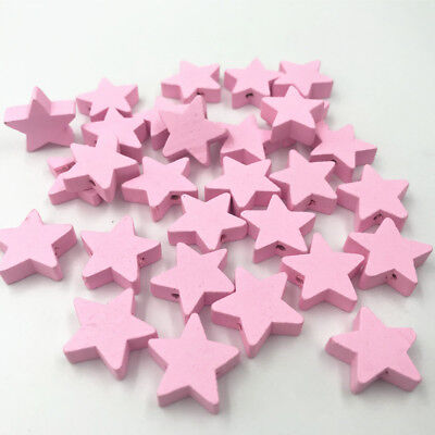 Pink Star shape Wood Beads Spacer Bead Baby Pacifier Clip Jewelry Making DIY