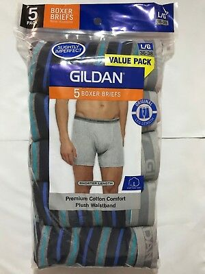 GILDAN 5 PACK Boxer Briefs Men's Plush Waistband Underwear Premium Cotton New