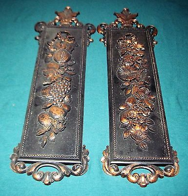Vintage Dart Coppercraft Guild Black Embossed Wall Plaques - Flowers & Fruit