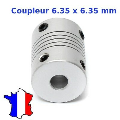 Coupleur 6.35x6.35mm Aluminium - Shaft Flexible Coupling Coupler 6.35 * 6.35 mm