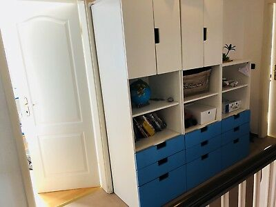 ikea stuva schrank blau wei kinder eur 45 00 picclick de. Black Bedroom Furniture Sets. Home Design Ideas