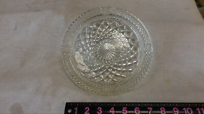 Crystal 8 1/2 Inch Diameter Ash Tray With Diamond Pattern