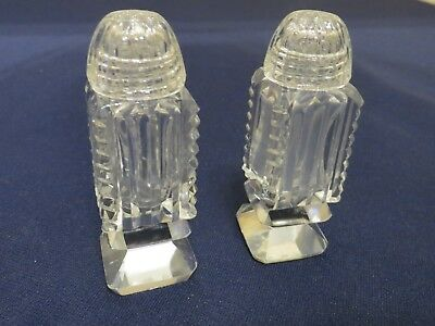 Vintage Crystal Clear Cut Glass Salt and Pepper Shakers Beautiful!