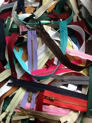 50 x Assorted Closed End Zips (Job Lot, Bundle, Clearance) Free Uk Delivery,